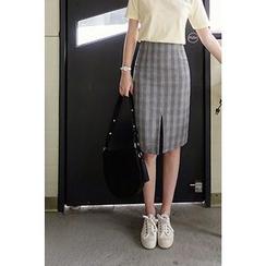 CHERRYKOKO - Slit-Hem Glen-Plaid Pencil Skirt