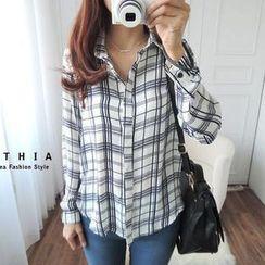 CYNTHIA - Plaid Chiffon Shirt