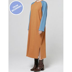 FROMBEGINNING - Contrast Raglan-Sleeve Long T-Shirt Dress