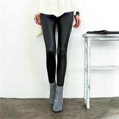 GLAM12 - Fleece-Lined Faux-Leather Leggings