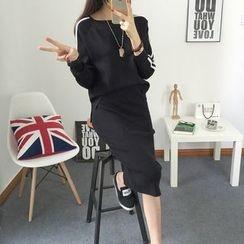 Dream Girl - Set: Contrast Trim Pullover + Midi Skirt