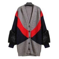 Ultra Modern - Color Block Furry Trim Long Cardigan