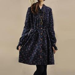 Yammi - Long-Sleeve Tie-Waist Floral Dress