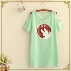 Fairyland - Bunny Appliqué Cutout Shoulder T-Shirt
