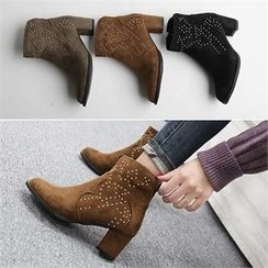 Reneve - Chunky-Heel Studded Faux-Suede Ankle Boots