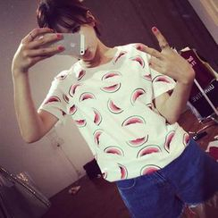 QZ Lady - Short-Sleeve Watermelon Print T-Shirt