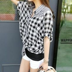 REDOPIN - Gingham Tied-Waist Blouse