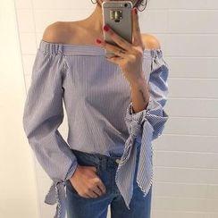 Rebecca - Off-shoulder Pinstripe Long-Sleeve Top