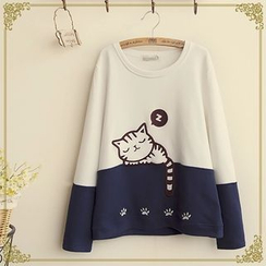 Fairyland - Cat Print Two-Tone Sweatshirt