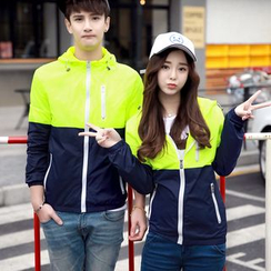 Fireon - Couple Matching Two-Tone Hooded Jacket