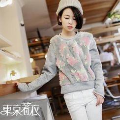 Tokyo Fashion - Flower Faux-Fur-Panel Pullover