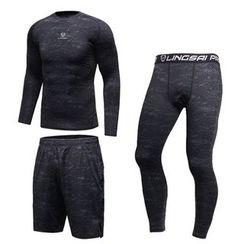CUSMOS - 运动套装: 印花上衣 + 短裤 + 内搭裤