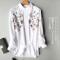 Helensky - Embroidered Long-Sleeve Blouse