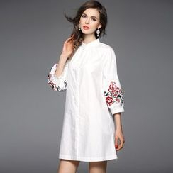 Y:Q - Embroidered Bubble-Sleeved Shirt Dress