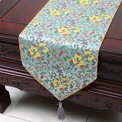 Sun East - Tasseled Floral Print Table Mat