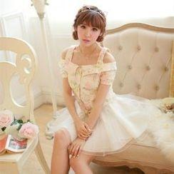 Porta - Set: Off-Shoulder Floral Top + A-Line Tulle Skirt