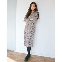 FROMBEGINNING - Slit-Front Floral Pattern Long Dress