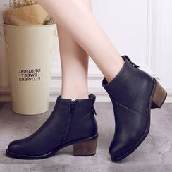 Ammie - Block Heel Burnished Short Boots