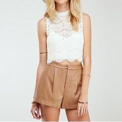 Richcoco - Sleeveless Lace Top