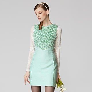 O.SA - Wool-Blend Sleeveless Crochet-Trim Fringed Dress