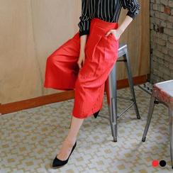 OrangeBear - 素色質感打摺設計七分寬褲