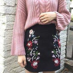 Alfie - Embroidered Flower A-Line Skirt