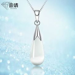 DIJING - Opal Droplet Pendant Sterling Silver Necklace