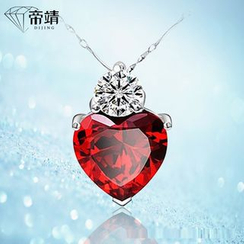 DIJING - Crystal Heart Pendant Sterling Silver Necklace