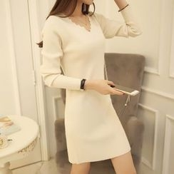 OGAWA - Long-Sleeve Sheath Knit Dress