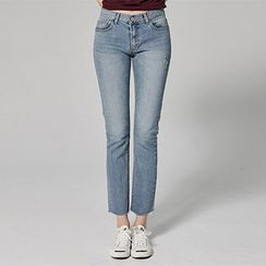 chuu - Fray-Hem Washed Straight-Cut Jeans