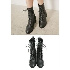 REDOPIN - Zip-Detail Lace-Up Boots