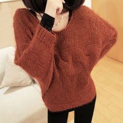 Simpure - Cable-Knit Furry Sweater