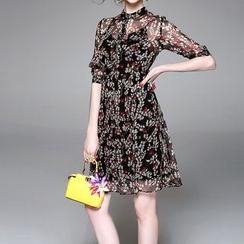 Alaroo - Floral Print Stand-collar Dress