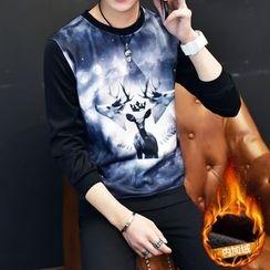 Jazzcool - Print Panel Fleece-lined Neoprene Sweatshirt