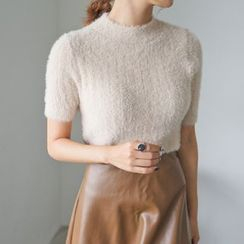 PPGIRL - Mock-Neck Furry-Knit Top