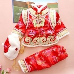 OnCloud - Kids Set: Embroidered Traditional Chinese Jacket + Pants