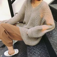 EEKO - V-Neck Chunky Knit Oversized Sweater