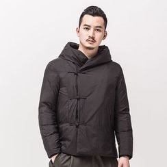 Ashen - Chinese-Style Frog-Button Hooeded Light Down Coat