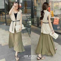 REDOPIN - Linen Blend Sleeveless Vest With Belt