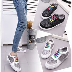 BAYO - Glittered Lace Up Sneakers