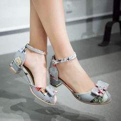 JY Shoes - Printed Bow Block Heel Sandals