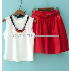 YOZI - Set: Sleeveless Top + Belted A-Line Skirt + Statement Necklace