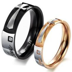 Tenri - Couple Cross Lettering Titanium Steel Ring