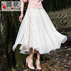 GU ZHI - Tulle Overlay Floral Maxi Skirt