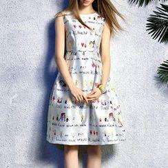 Queen Mulock - Sleeveless Printed Dress
