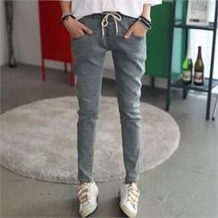 CHICFOX - Drawstring-Waist Washed Jeans