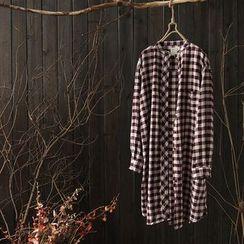 Rosadame - 格纹长袖衬衫裙