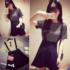 QZ Lady - Set: Striped T-Shirt + Suspender Skirt