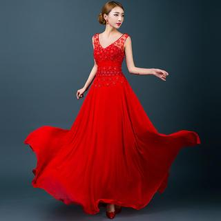 Royal Style - Sleeveless Flower Lace A-Line Evening Gown