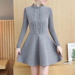 Ekim - Long-Sleeve Woolen A-line Dress